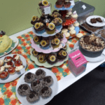 table of cakes for charity event