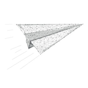 line image of paper plane for fast, same day delivery